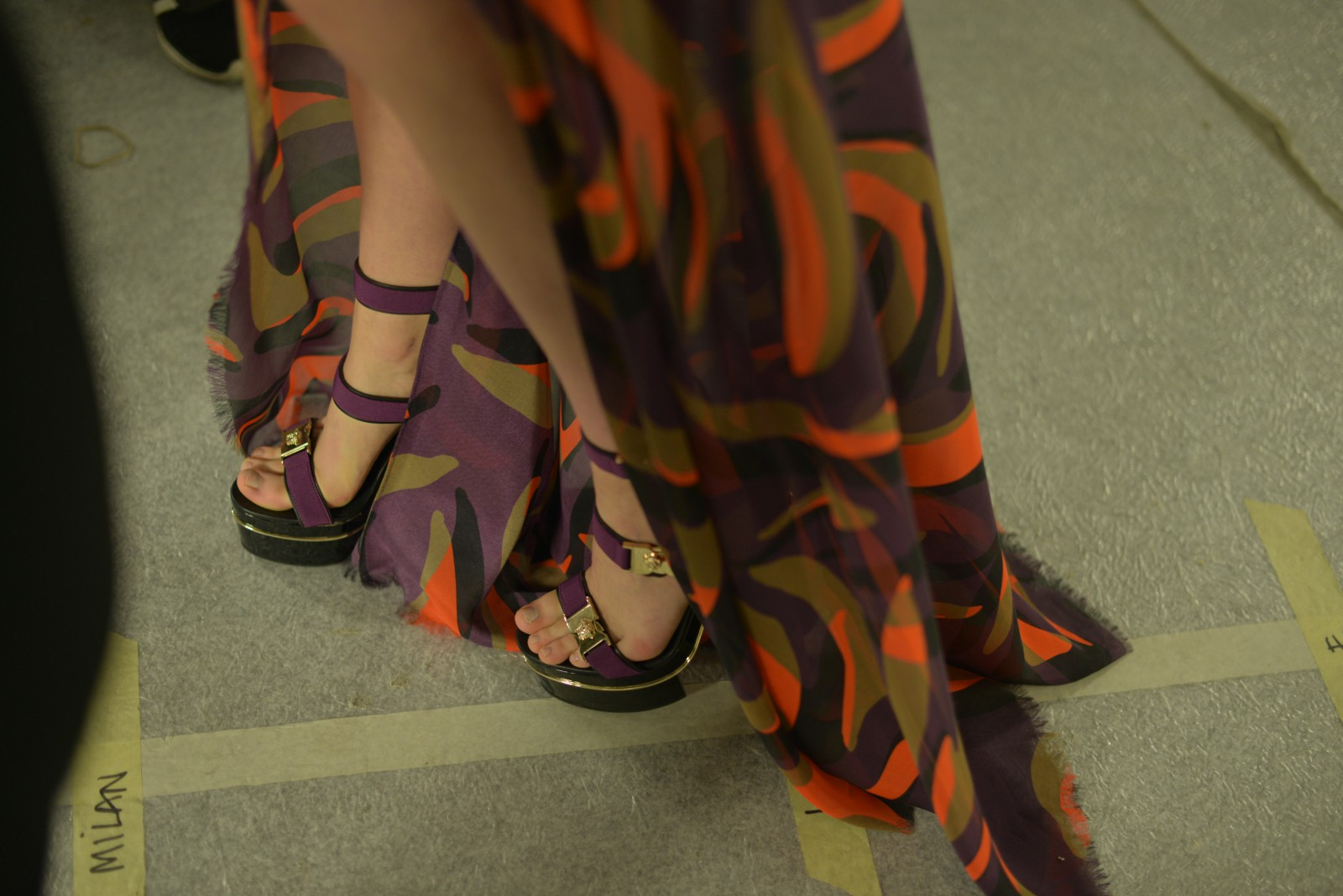 Close-up of the shoes backstage at Versace SS16