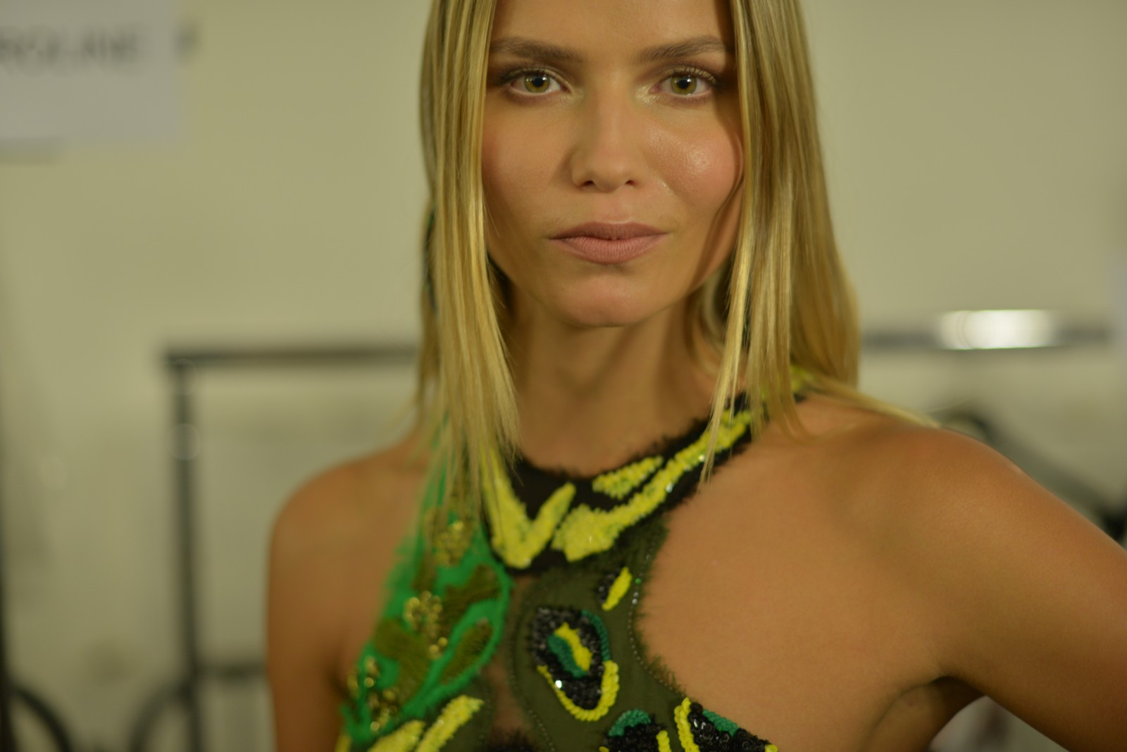 Natasha Poly backstage at the SS16 collection of Versace