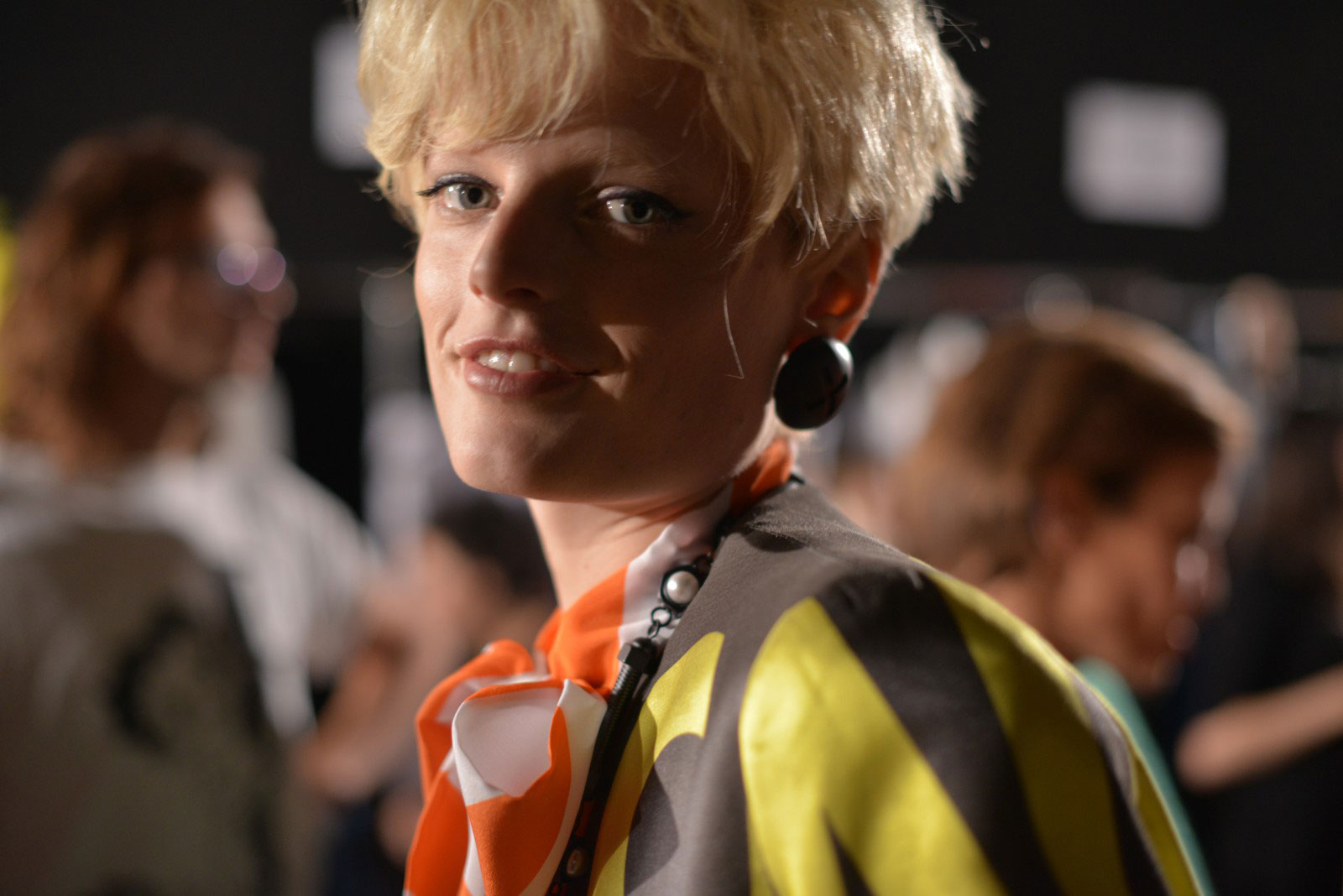 Hanne Gaby Odiele backstage for Moschino SS16