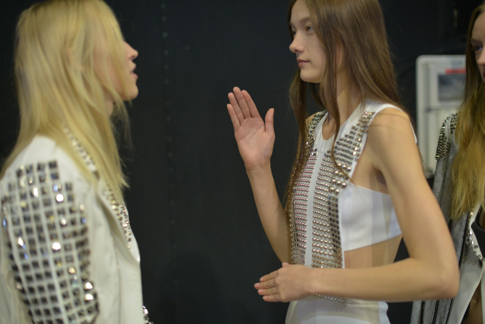 Yumi Lambert backstage at Philipp Plein's SS16 show during Milan fashion week