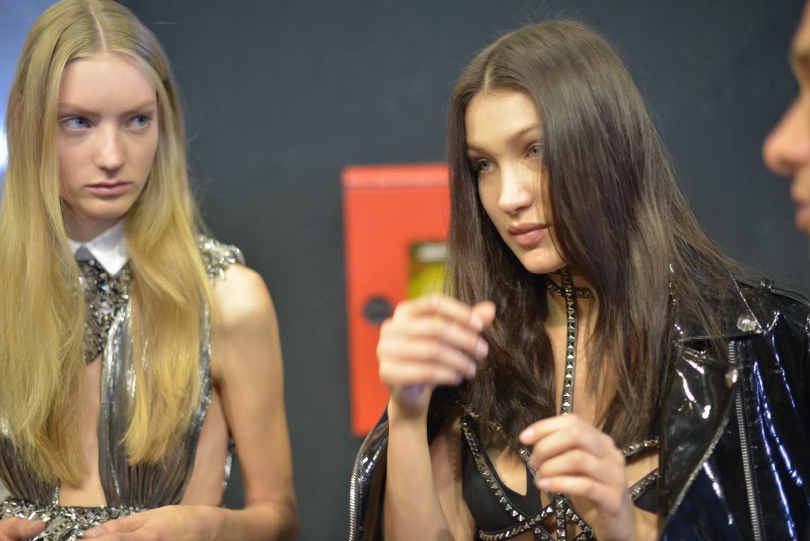 Bella Hadid backstage at Philipp Plein's SS16 fashion show during Milan fashion week