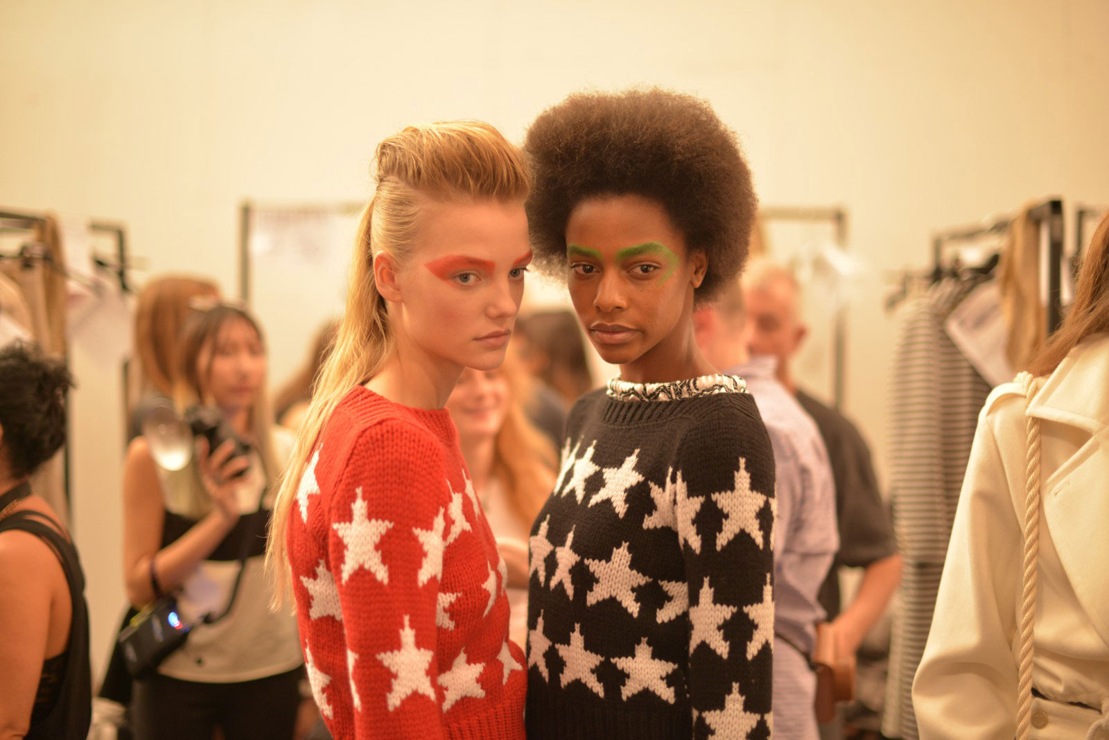 Roos Abels and Karly Loyce backstage at Max Mara SS16 fashion show in milan