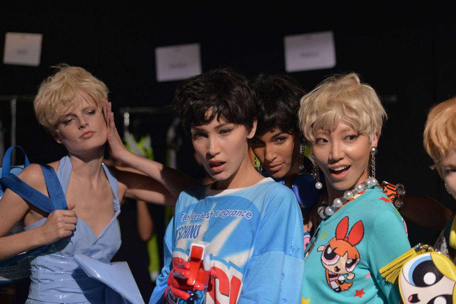Bella Hadid and her co-models backstage having fun