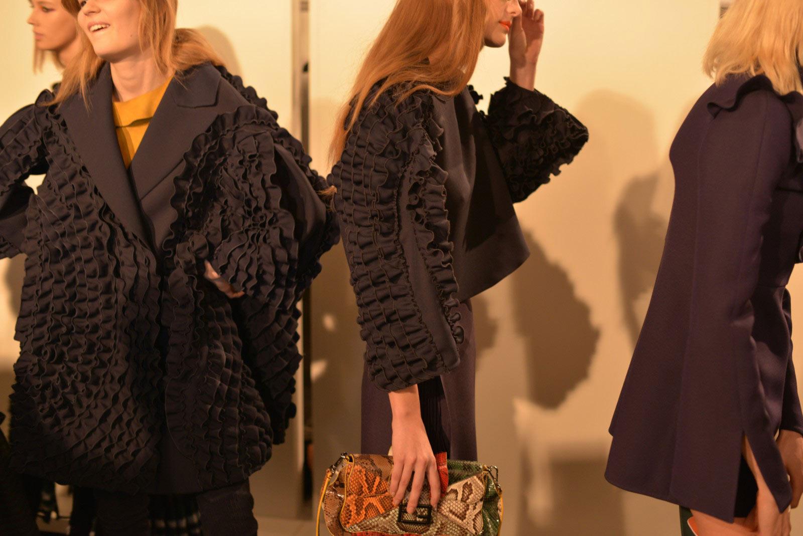 FENDI AW16 backstage up-close outfit shot during milan fashion week