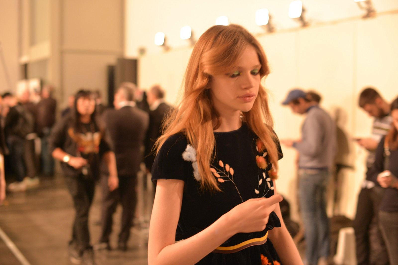 Backstage at FENDI Milan fashion week