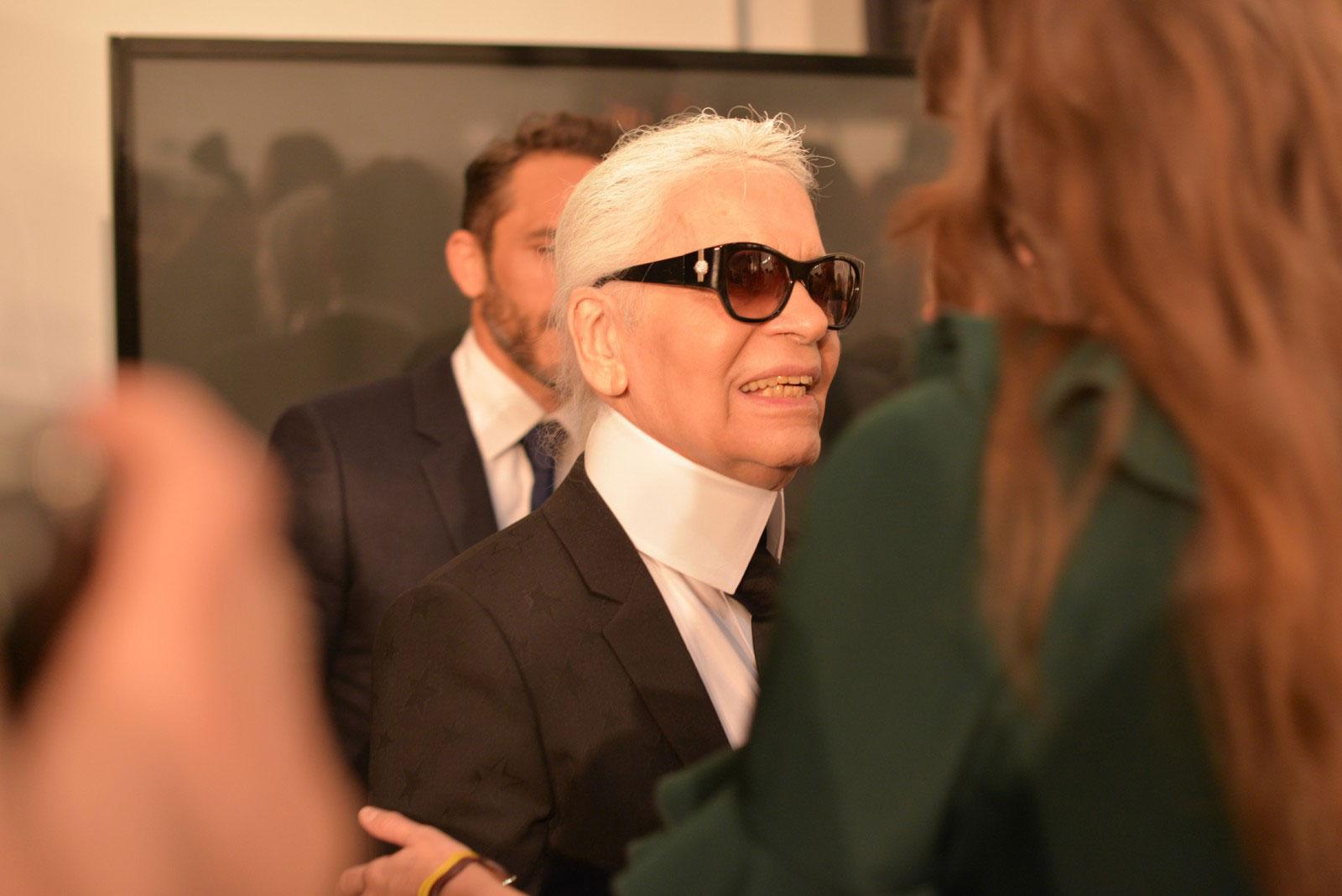 Karl Lagerfeld backstage at FENDI AW16